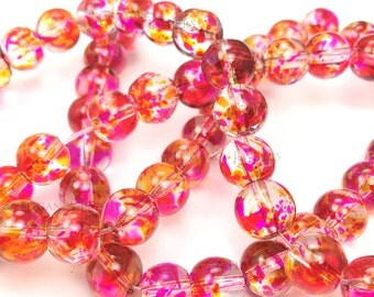 20 Pcs - 8mm Pink, Red & Yellow Transparent Painted Glass Beads, Bracelet, Jewelry Making, Bracelet Beads, Crafting (B033)
