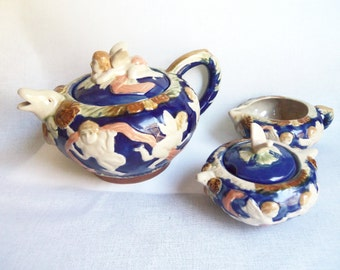 Cherub Tea Pot Creamer and Sugar Bowl