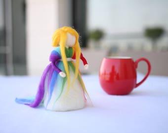 Rainbow decor, Girl nursery decor, Rainbow doll, Rainbow room, Needle Felted, Rainbow nursery, Waldorf inspired, Nursery decor, Rainbow felt