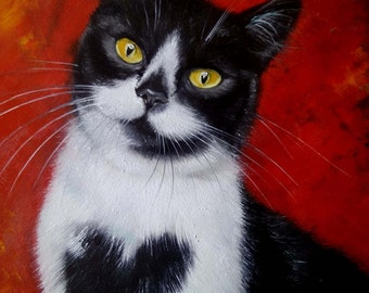 Black and white kitty Oil Painting Cat