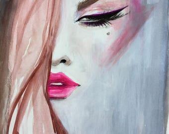 Original Acrylic Fashion Illustration Redhead Hot Pink Portrait Painting