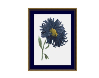 Blue Aster Counted Cross Stitch Chart, Instant Digital Download Floral Cross Stitch Pattern   (P-304)