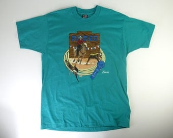 90s Vintage Texas Rodeo Tee -  50/50 Single Stitched Texas Rodeo teal Tshirt - XL