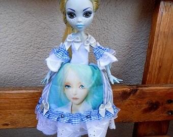 Lolita harajuku blue print - dress for Monster high and Ever after high custom doll