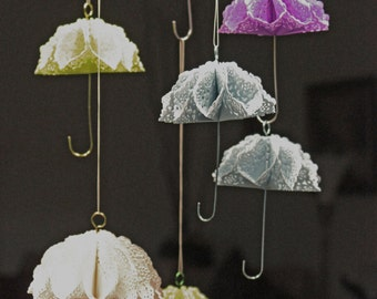 Set of 4 Umbrellas Party Decorations Mini Fancy Umbrellas Wire Handles 4 Different Colors Individually Handmade