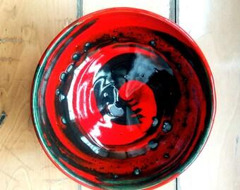 Red spiral ceramic bowl