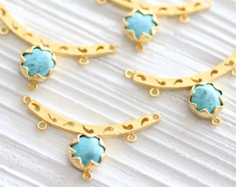 Turquoise gold pendant connector, gemstone pendant, gold filigree connector, gold bezel turquoise connector, gold bezel turquoise pendant