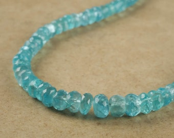18in Sky BLUE APATITE Necklace Faceted Bead Necklace - Chakra Jewelry with Graduated Apatite Beads and Sterling Silver Clasp J857