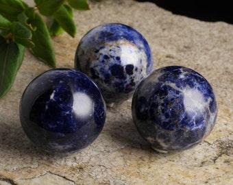 One Medium SODALITE Crystal Sphere with Stand - Sodalite Stone, Third Eye Chakra, Stone, Blue Gemstone, Stone Sphere, Crystal Ball E0162