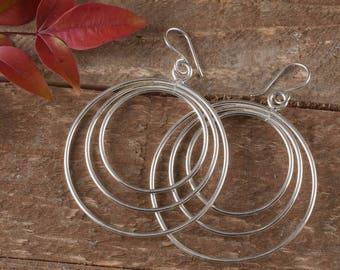 2 inch STERLING SILVER Hoop Earrings - 2 Inch Hoop Earrings, Sterling Silver Earrings, Silver Jewelry, Large Hoop Earrings Silver J1182