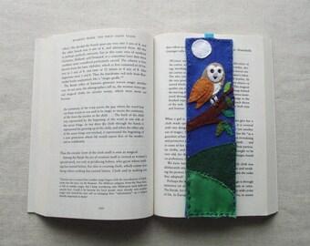 Barn Owl Felt BOOKMARK - Handmade, Made to Order