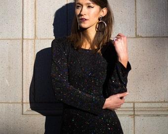 Black Sparkly Mini Swing Dress
