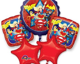 DC Super Hero Girls Five piece balloon bouquet, birthday, balloons, supergirl, wonder woman, girls, party supplies, set, kit, favor, batgirl