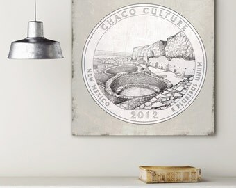 Chaco Culture National Historical Park 2012 Quarter, Vintage National Park Canvas, National Park Quarter on Canvas, Vintage Wall Decor
