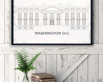 White House Patent Print, White House on Canvas, Washington DC, Printed on Canvas, Patent Print, Vintage Wall Decor, Vintage Wall Art