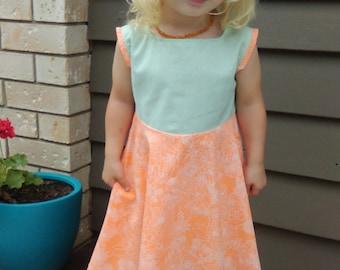 Mint and Orange Sorbet dress Size 3