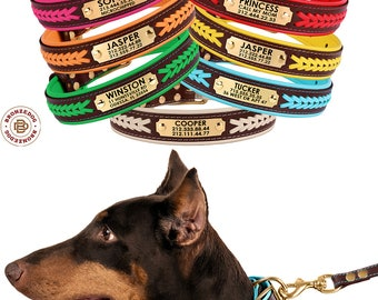 Dog Collars, Braided Dog Collar, Leather Dog Collar, Personalized Dog Collar, Custom Engraved Dog Collar with Name Plate