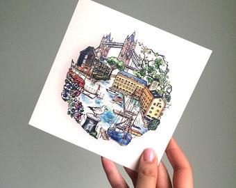 St Katharine's docks card. London Travel. Tower Bridge. London Love.