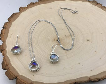 Wire wrapped faceted crystal jewelry set