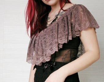 Coffee Brown Victorian Lace Top / Edwardian top / Lace Ruffle Top