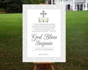 Communion Sign, Baptism Sign, Religious, Christening, Communion, Grey, Silver, Welcome Sign, God Bless, Confirmation, First Holy Communion