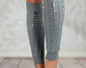 Silver Beaded Cable Knit Leg Warmers