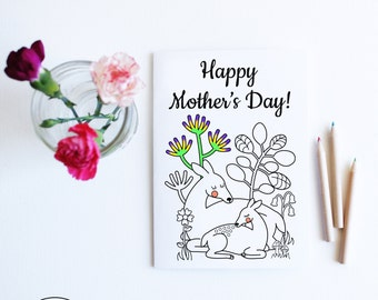 Printable Mothers Day Card Floral, Instant Download Card for Mom, Cute Deer Mothers Day Keepsake Card, Card from Children Coloring Card