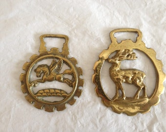 Horse Tack Harness Brass Medallions Unicorn and Elk