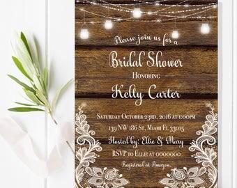 Digital file or Printed-Wood Mason Jar Bridal Shower Invitation-Rustic Bridal Shower-Bridal Invitation-Kraft Lace Bridal Invitation