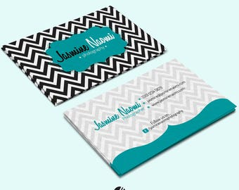 Business Card Design, Chevron, Template, Double-sided, Small Business, Business, Business Identity, Stationery, Business Cards, Pre-made