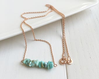 Bar Necklace, Rose Gold Plated Necklace, Natural Turquoise Necklace, Sleeping Beauty Turquoise, Rose Gold Plated Jewelry, Dainty Necklace