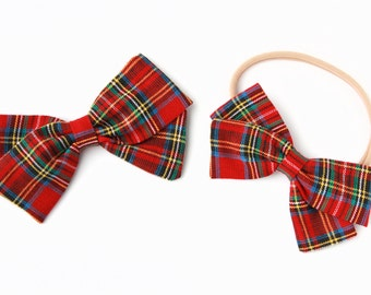 Christmas Bow-Baby Girl, Toddler, Girls Fabric Bow, Newborn, Hand tied bow- Christmas Plaid