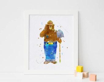 Smokey the Bear poster Smokey Bear sticker smokey bear print smokey bear wall art smokey bear nursery art smokey bear printable art