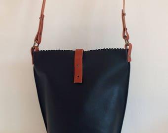 Black Bucket Bag, Black Leather Cross Body Bucket Bag