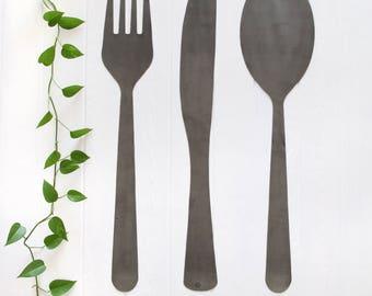 Fork Knife Spoon Hanging Set  |  kitchen restaurant dining room metal decor