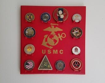 Military Challenge Coin Display Rack - Marine Corps - Wall-mounted