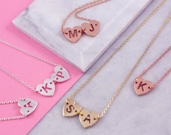 Tiny Heart Necklace | Letter Necklace | Two Letter Necklace | From Mom to Daughter | Name Initial Jewelry | Two Sisters Necklace |