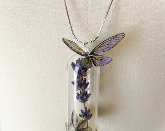 "Fairy terrarium and plant ""volatilis lavendula"" necklace"