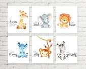 Safari Nursery Print Giraffe Elephant Lion Rhino Monkey Zebra Jungle Animals Printable Wall Art Baby Shower Gift 5x7 8x10 10x10 Set of 6