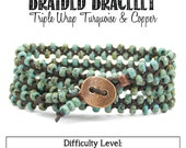 Triple Strand Turquoise Picasso & Copper Braided Bracelet Jewelry Kit