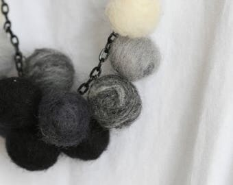 Wool Felt Bead Necklace | 100% Wool | Lightweight | Minimalist | |  Gift
