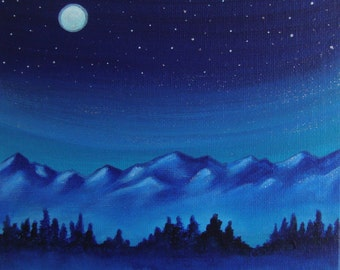 Canvas artwork, scenic mountain landscape painting, evening moon art, original nature painting, Astronomy gifts, night sky artwork