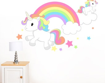 Rainbow Unicorn & Stars Mural Wall Sticker - Girl's Children's Art Vinyl Decal Transfer - Designed by Rubybloom Designs
