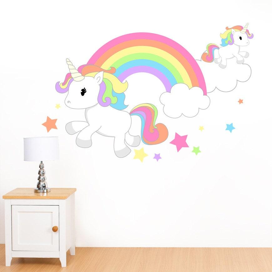Rainbow unicorn stars mural wall sticker girl 39 s for Recamaras de unicornio para ninas