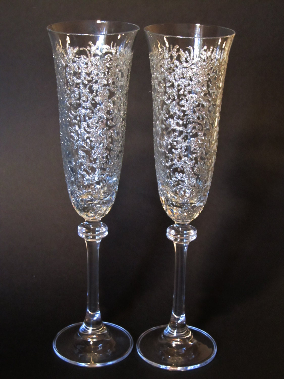 Hand Painted Glasses Wedding Glasses Bohemia Wedding Champagne