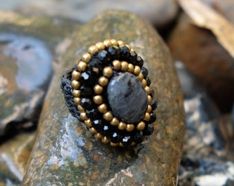 Black Gold Art Beaded Rings braided with Rope I Hand Crafted Fantasy Beads Accessories