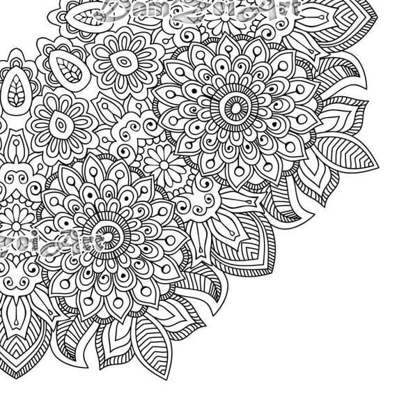 Flower mandala coloring page printable pdf blank mandala for Blank flower coloring pages
