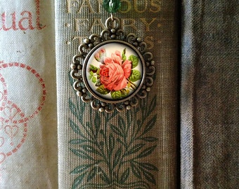 Red Rose brass book hook bookmark with dangling glass cabochon accent