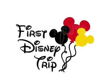 First Disney Trip Minnie Mickey Balloons Disney World Classic Matching Family Baby 2016 1st  Disney Iron On Decal Vinyl for Shirt 002