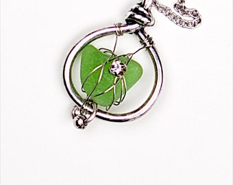 Seaglass pendant «Cling to You»